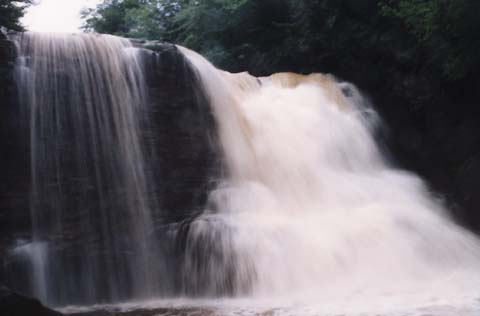 Muddy Creek Falls from the front in high water